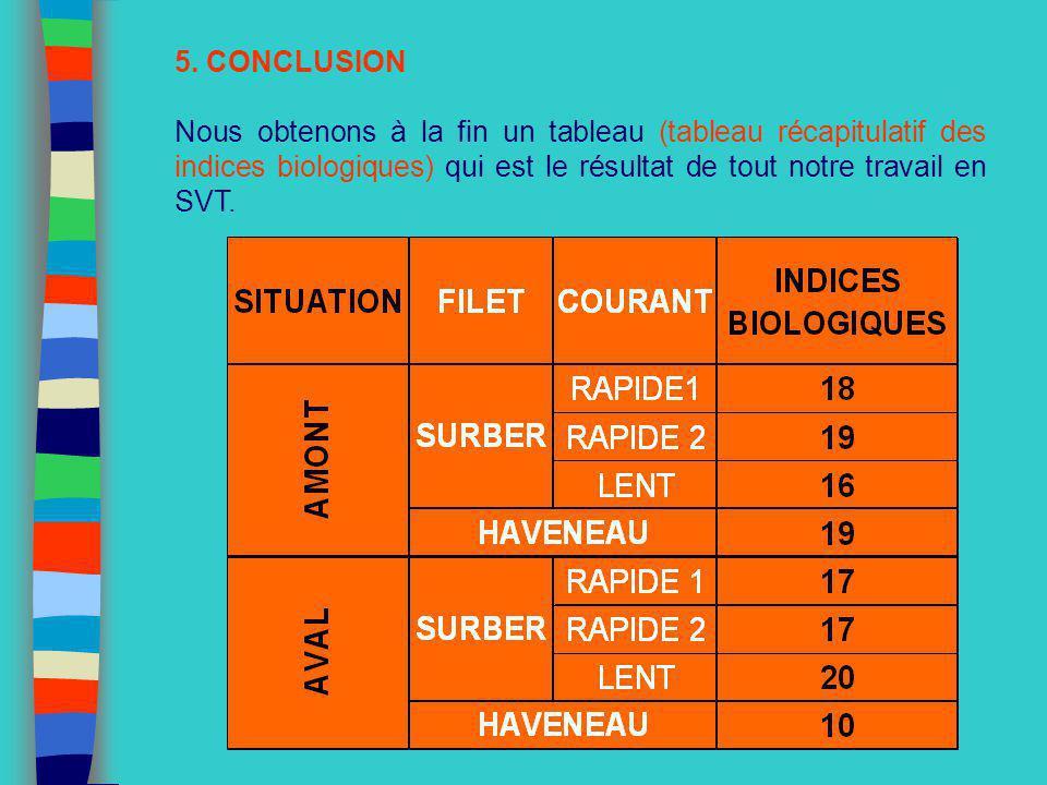 5. CONCLUSION Nous obtenons à la fin un tableau (tableau récapitulatif des indices biologiques) qui est le résultat de tout notre travail en SVT.