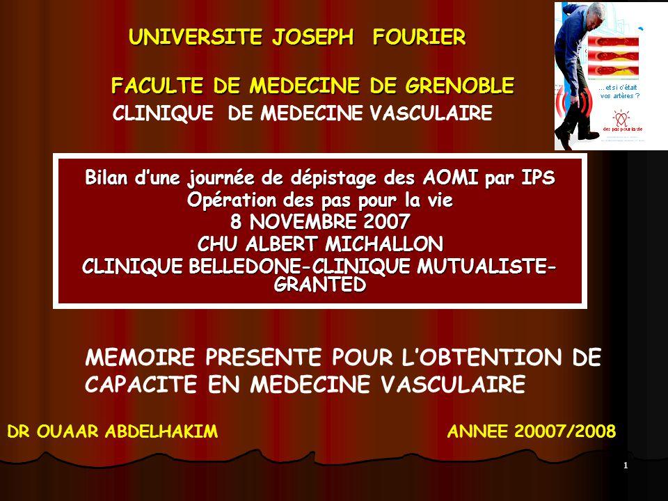 UNIVERSITE JOSEPH FOURIER FACULTE DE MEDECINE DE GRENOBLE UNIVERSITE JOSEPH FOURIER FACULTE DE MEDECINE DE GRENOBLE Bilan dune journée de dépistage de