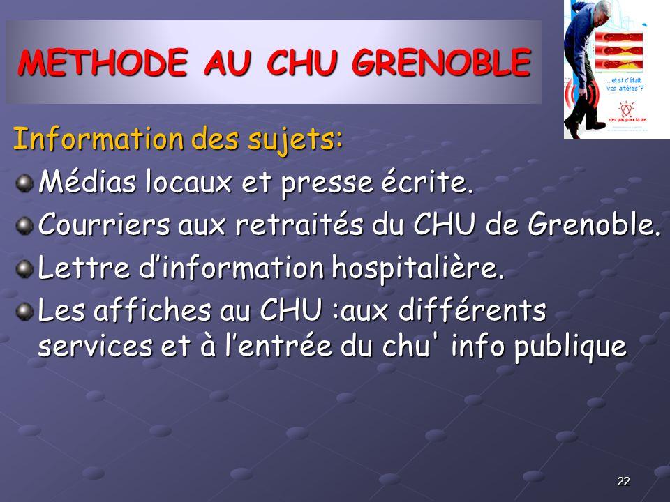 METHODE AU CHU GRENOBLE Information des sujets: Médias locaux et presse écrite. Courriers aux retraités du CHU de Grenoble. Lettre dinformation hospit