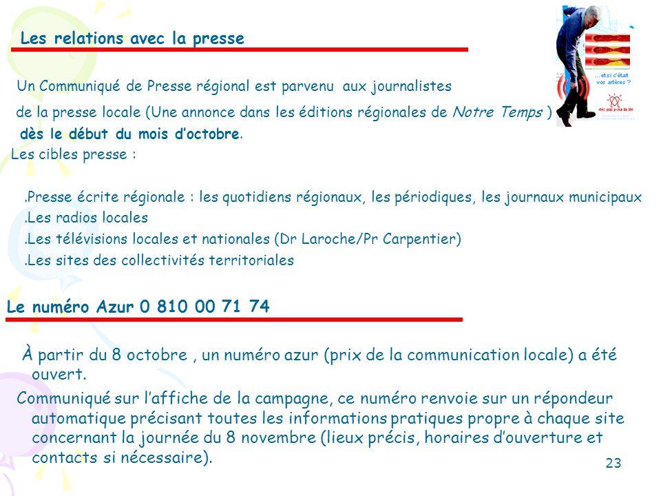 Les relations avec la presse Un Communiqué de Presse régional est parvenu aux journalistes de la presse locale (Une annonce dans les éditions régional