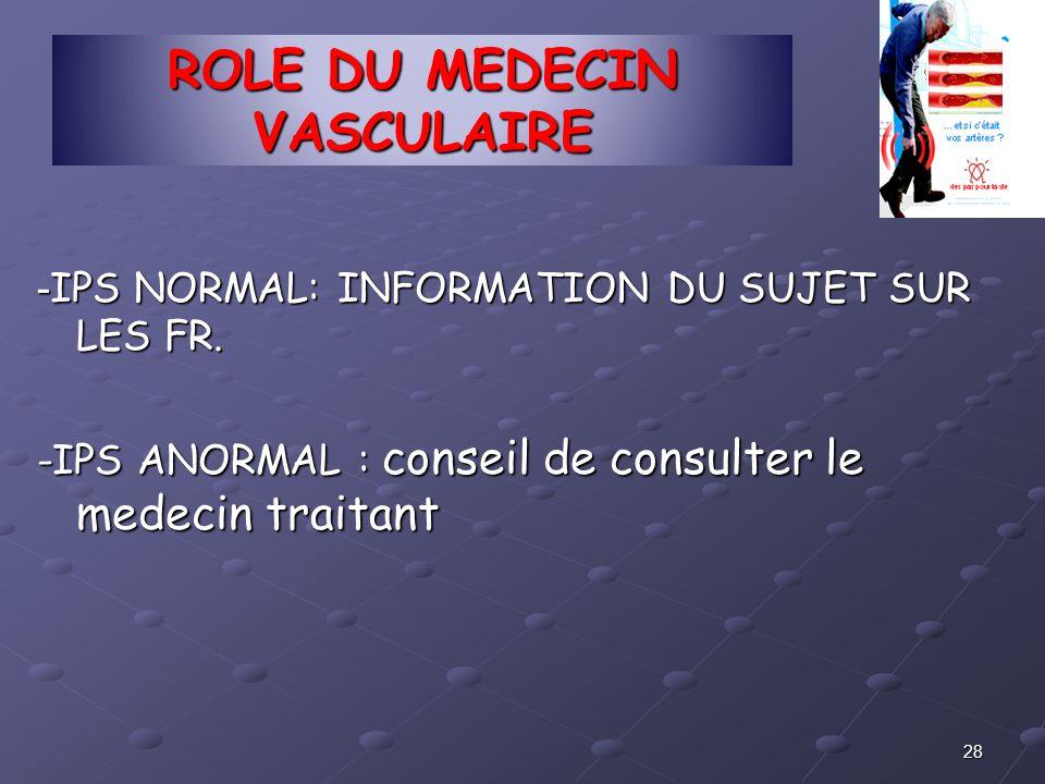 ROLE DU MEDECIN VASCULAIRE - IPS NORMAL: INFORMATION DU SUJET SUR LES FR. -IPS ANORMAL : conseil de consulter le medecin traitant 28