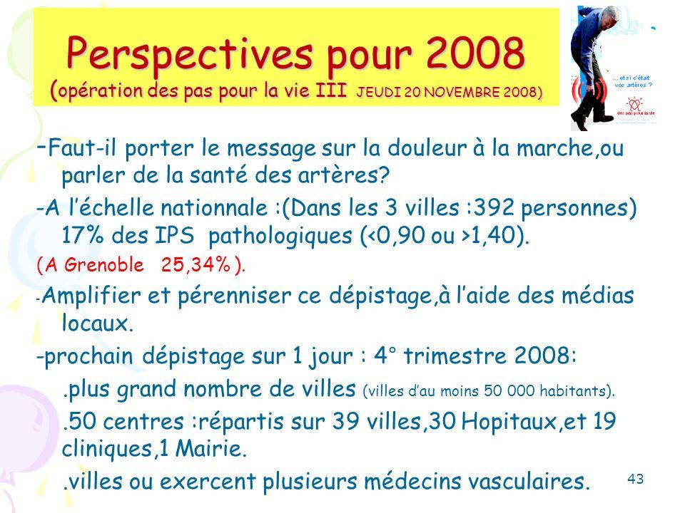 Perspectives pour 2008 ( opération des pas pour la vie III JEUDI 20 NOVEMBRE 2008) - Faut-il porter le message sur la douleur à la marche,ou parler de