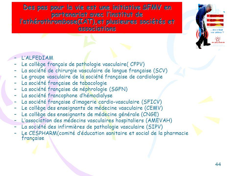 Des pas pour la vie est une initiative SFMV en partenariat avec linstitut de lathérothrombose(IAT),et plusieures sociétés et associations –LALFEDIAM –