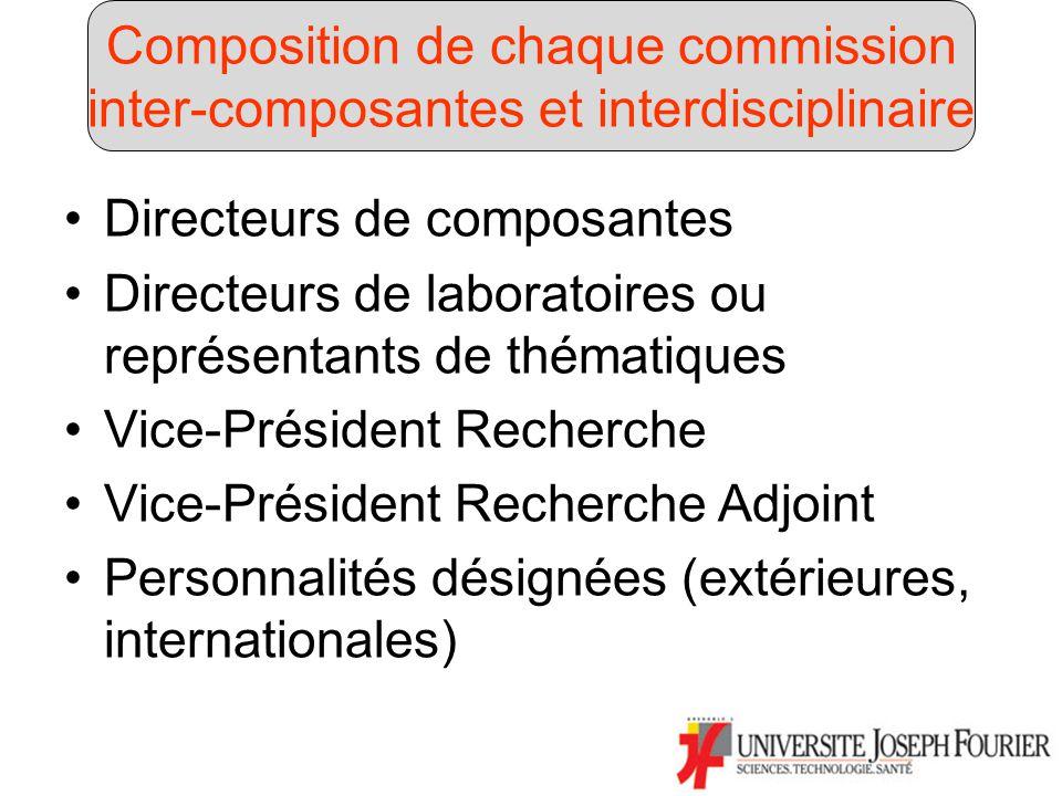 Directeurs de composantes Directeurs de laboratoires ou représentants de thématiques Vice-Président Recherche Vice-Président Recherche Adjoint Personnalités désignées (extérieures, internationales) Composition de chaque commission inter-composantes et interdisciplinaire