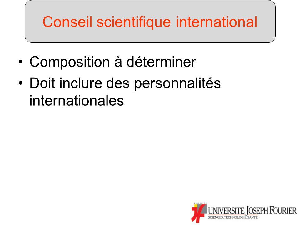 Composition à déterminer Doit inclure des personnalités internationales Conseil scientifique international