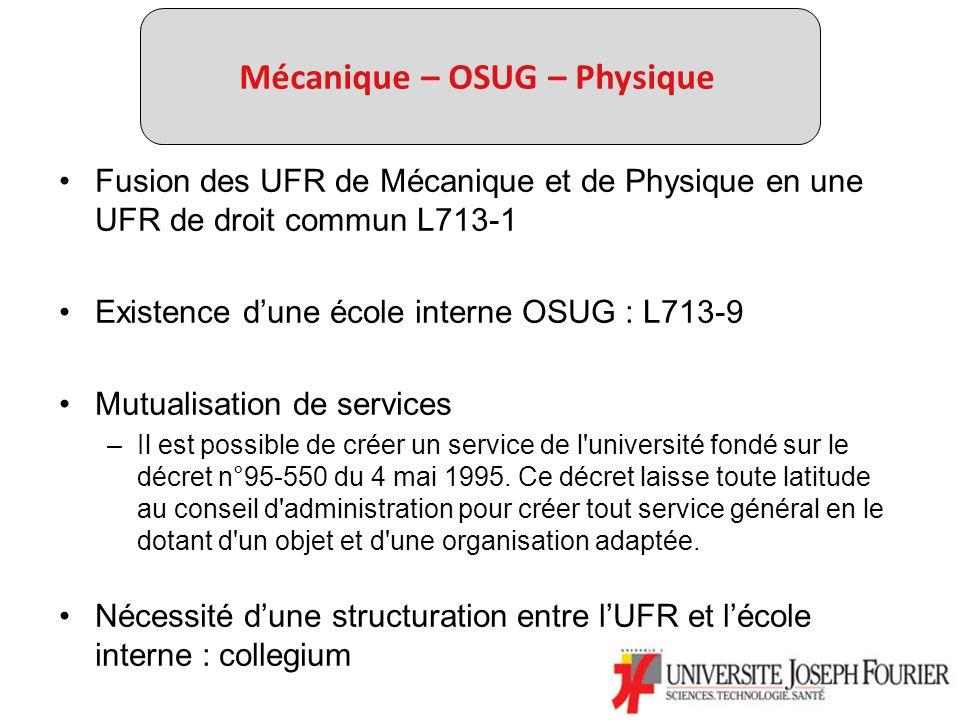 Mécanique – OSUG – Physique Fusion des UFR de Mécanique et de Physique en une UFR de droit commun L713-1 Existence dune école interne OSUG : L713-9 Mutualisation de services –Il est possible de créer un service de l université fondé sur le décret n°95-550 du 4 mai 1995.
