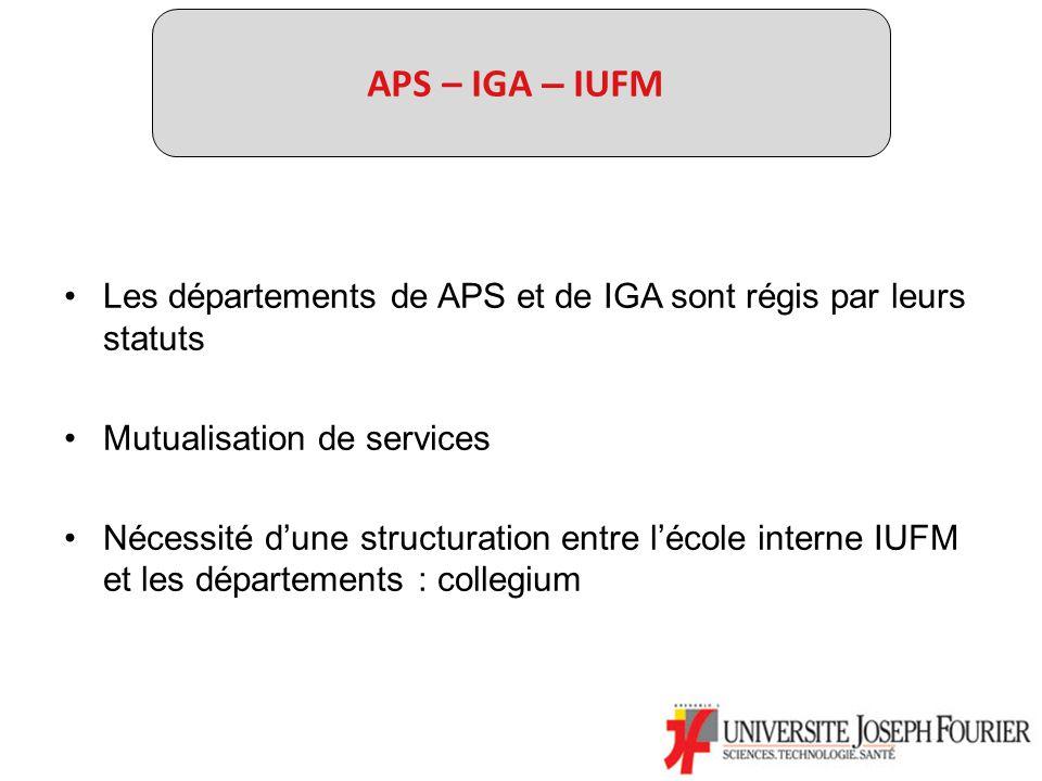 APS – IGA – IUFM Les départements de APS et de IGA sont régis par leurs statuts Mutualisation de services Nécessité dune structuration entre lécole interne IUFM et les départements : collegium