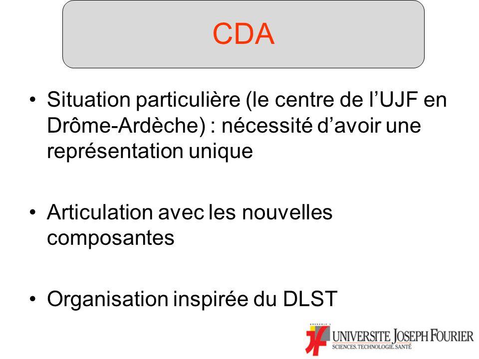 Composantes (2) Situation particulière (le centre de lUJF en Drôme-Ardèche) : nécessité davoir une représentation unique Articulation avec les nouvelles composantes Organisation inspirée du DLST CDA