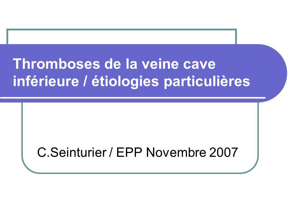 Manifestation cliniques Durée moyenne des symptômes avant le diagnostic est de 6 ans Diagnostic dune hépatopathie (HMG/HTTP) Échographie :dysmorphie hépatique, ascite, SMG, aspect irrégulier et tortueux des VSH, sténose VCI Diagnostic de la membrane par IRM +++ Angioplastie percutanée / dérivations chirurgicales