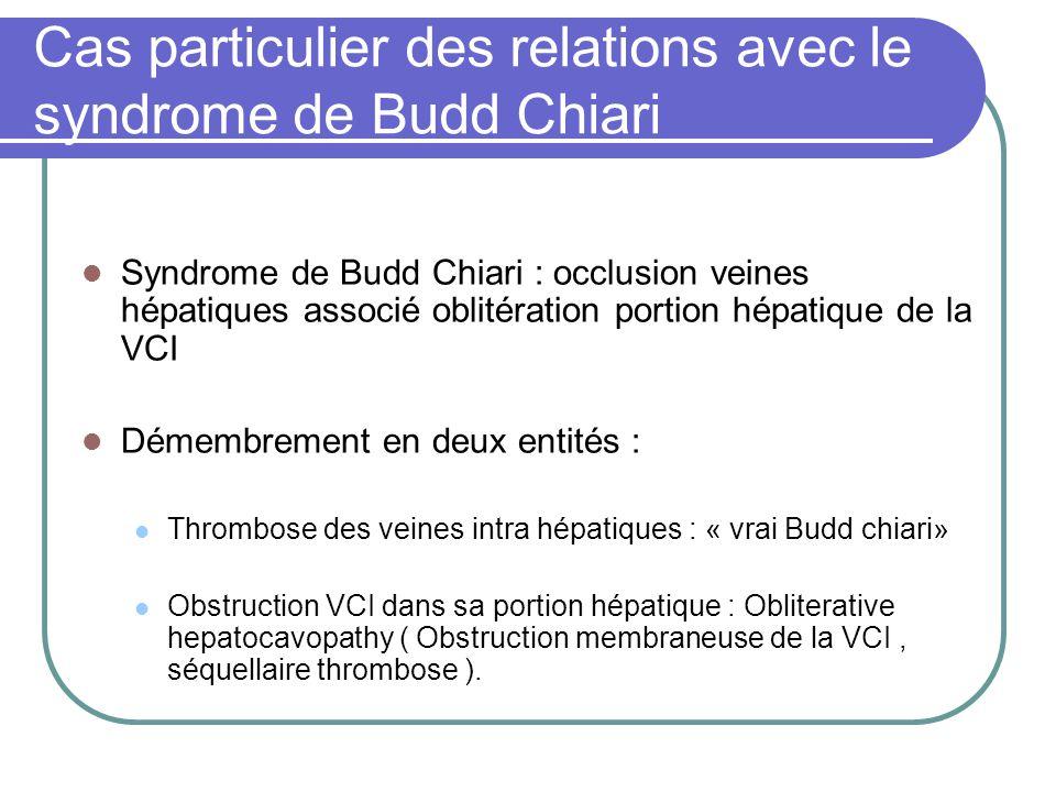 Cas particulier des relations avec le syndrome de Budd Chiari Syndrome de Budd Chiari : occlusion veines hépatiques associé oblitération portion hépat
