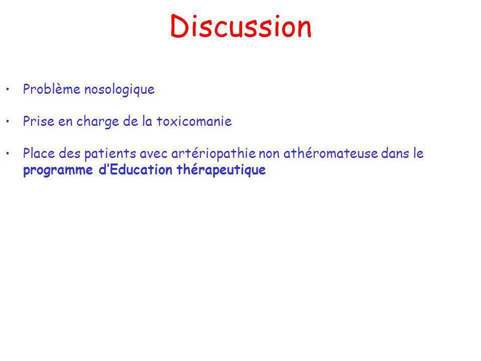 Discussion Problème nosologique Prise en charge de la toxicomanie Place des patients avec artériopathie non athéromateuse dans le programme dEducation