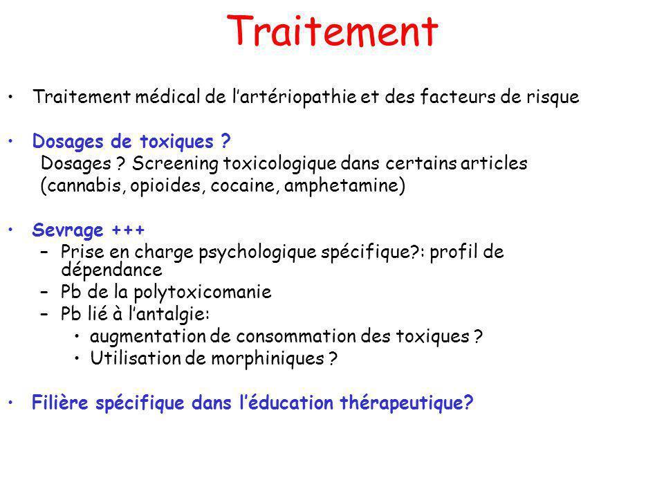 Traitement Traitement médical de lartériopathie et des facteurs de risque Dosages de toxiques ? Dosages ? Screening toxicologique dans certains articl