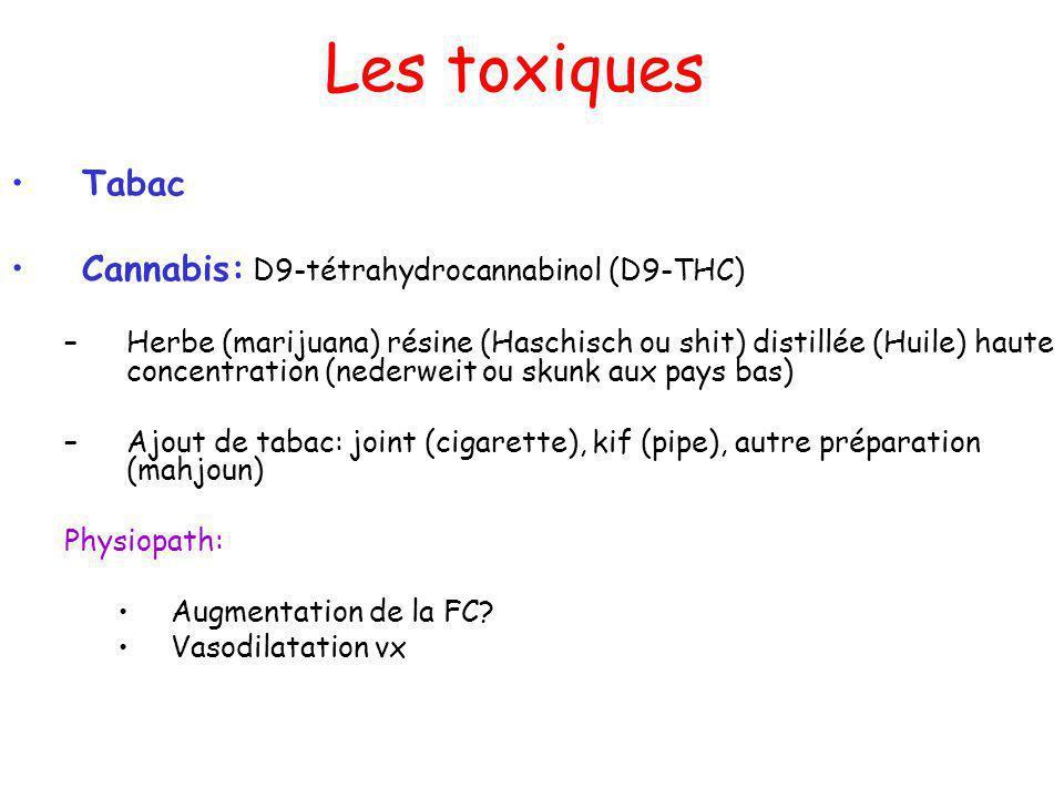 Les toxiques Tabac Cannabis: D9-tétrahydrocannabinol (D9-THC) –Herbe (marijuana) résine (Haschisch ou shit) distillée (Huile) haute concentration (nederweit ou skunk aux pays bas) –Ajout de tabac: joint (cigarette), kif (pipe), autre préparation (mahjoun) Physiopath: Augmentation de la FC.