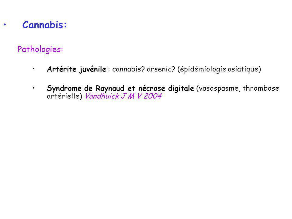 Cannabis: Pathologies: Artérite juvénile : cannabis? arsenic? (épidémiologie asiatique) Syndrome de Raynaud et nécrose digitale (vasospasme, thrombose