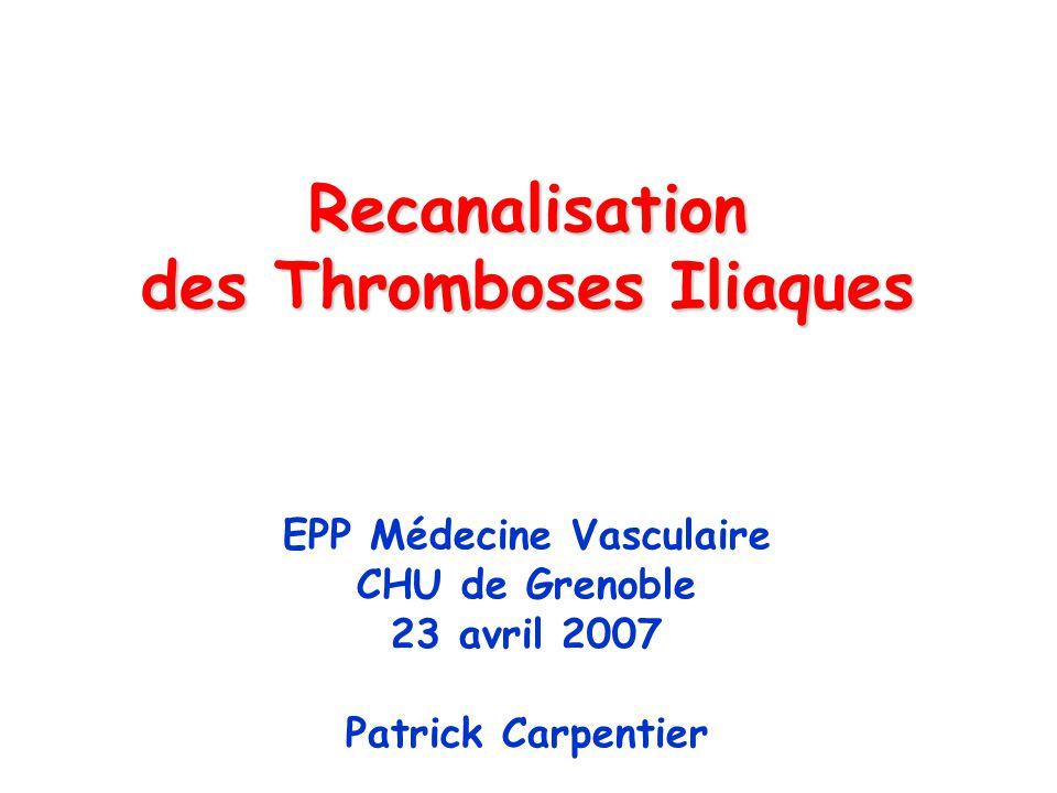 Recanalisation des Thromboses Iliaques EPP Médecine Vasculaire CHU de Grenoble 23 avril 2007 Patrick Carpentier