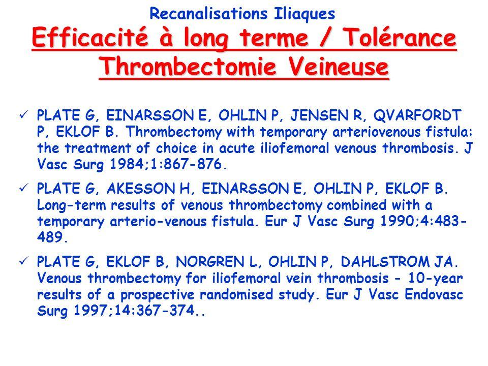 Efficacité à long terme / Tolérance Thrombectomie Veineuse Recanalisations Iliaques PLATE G, EINARSSON E, OHLIN P, JENSEN R, QVARFORDT P, EKLOF B. Thr