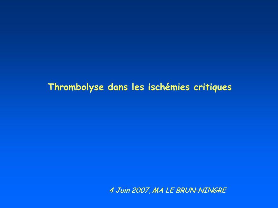 Thrombolyse dans les ischémies critiques 4 Juin 2007, MA LE BRUN-NINGRE