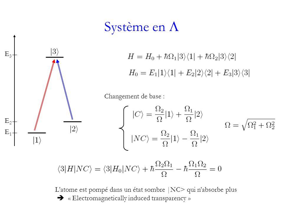 Système en E3E3 E2E2 E1E1 Latome est pompé dans un état sombre |NC> qui nabsorbe plus « Electromagnetically induced transparency » Changement de base :