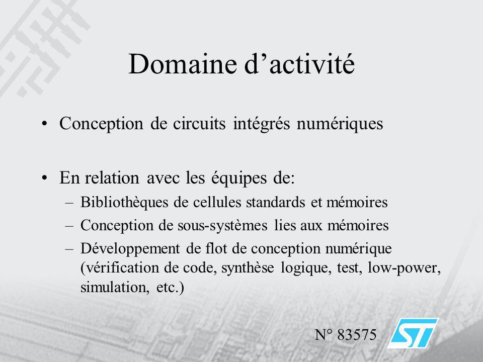 Domaine dactivité Conception de circuits intégrés numériques En relation avec les équipes de: –Bibliothèques de cellules standards et mémoires –Concep