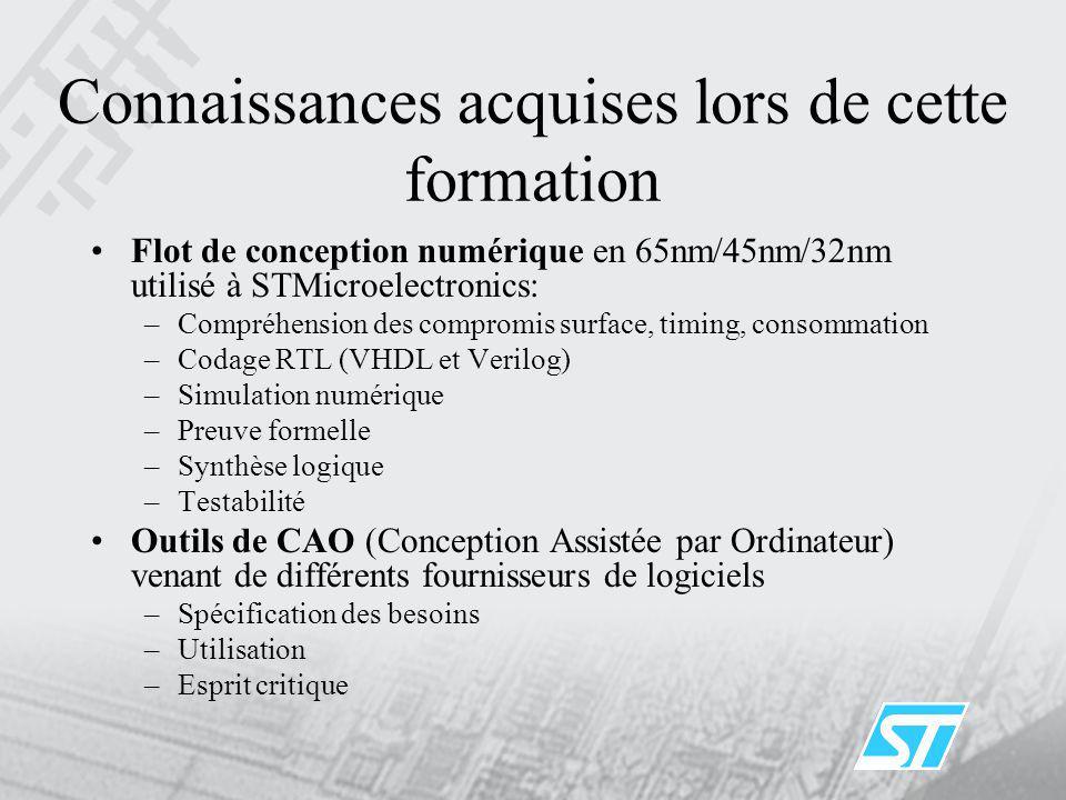 Connaissances acquises lors de cette formation Flot de conception numérique en 65nm/45nm/32nm utilisé à STMicroelectronics: –Compréhension des comprom
