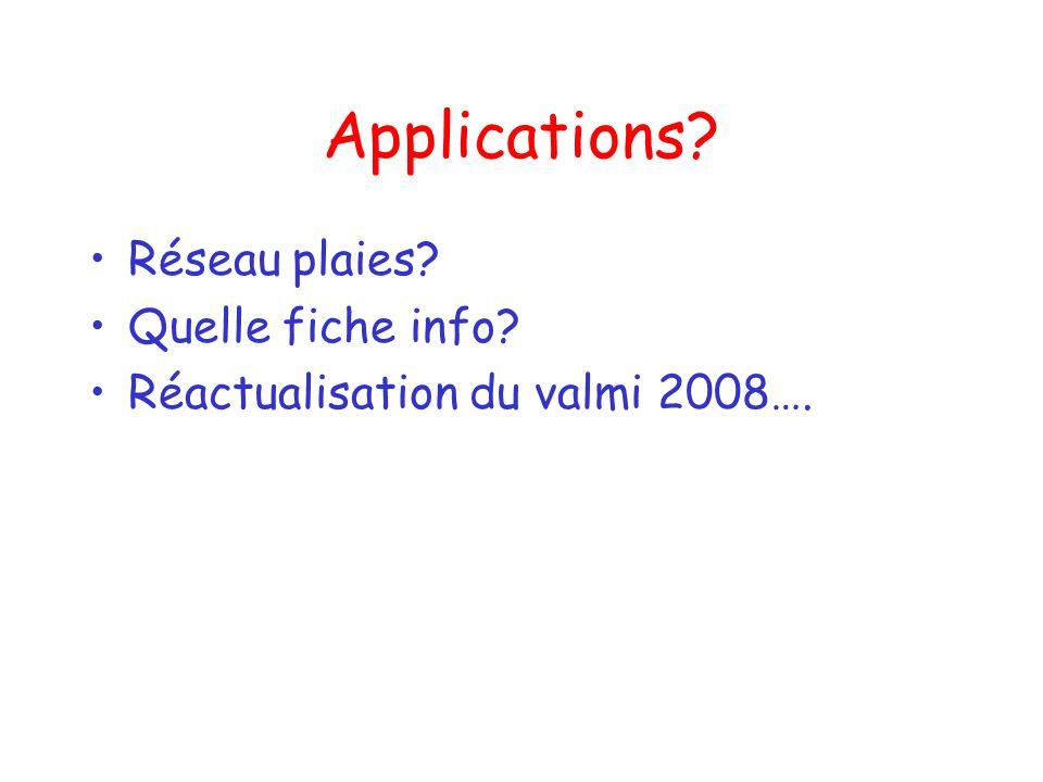 Applications? Réseau plaies? Quelle fiche info? Réactualisation du valmi 2008….