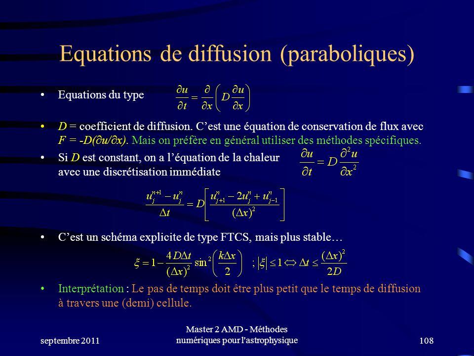 septembre 2011 Master 2 AMD - Méthodes numériques pour l astrophysique108 Equations de diffusion (paraboliques) Equations du type D = coefficient de diffusion.