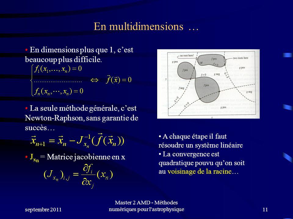 septembre 2011 Master 2 AMD - Méthodes numériques pour l'astrophysique11 En multidimensions … En dimensions plus que 1, cest beaucoup plus difficile.