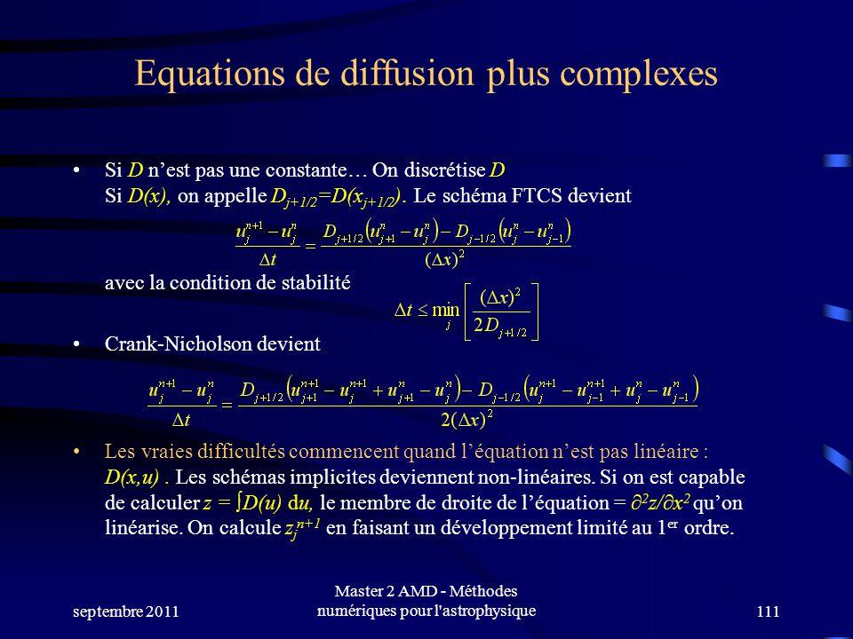 septembre 2011 Master 2 AMD - Méthodes numériques pour l astrophysique111 Equations de diffusion plus complexes Si D nest pas une constante… On discrétise D Si D(x), on appelle D j+1/2 =D(x j+1/2 ).