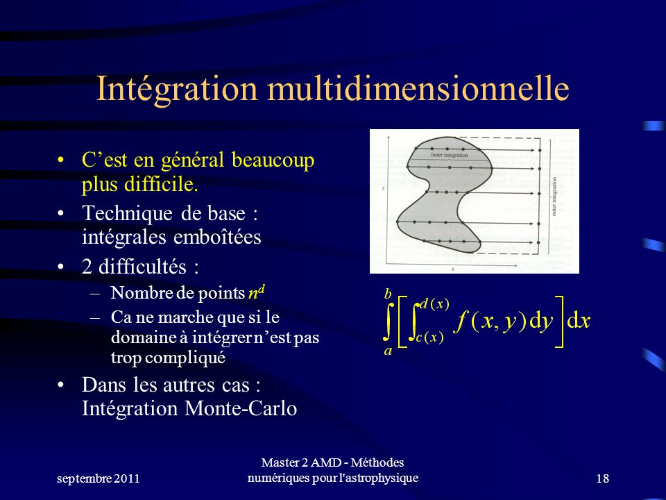 septembre 2011 Master 2 AMD - Méthodes numériques pour l astrophysique18 Intégration multidimensionnelle Cest en général beaucoup plus difficile.