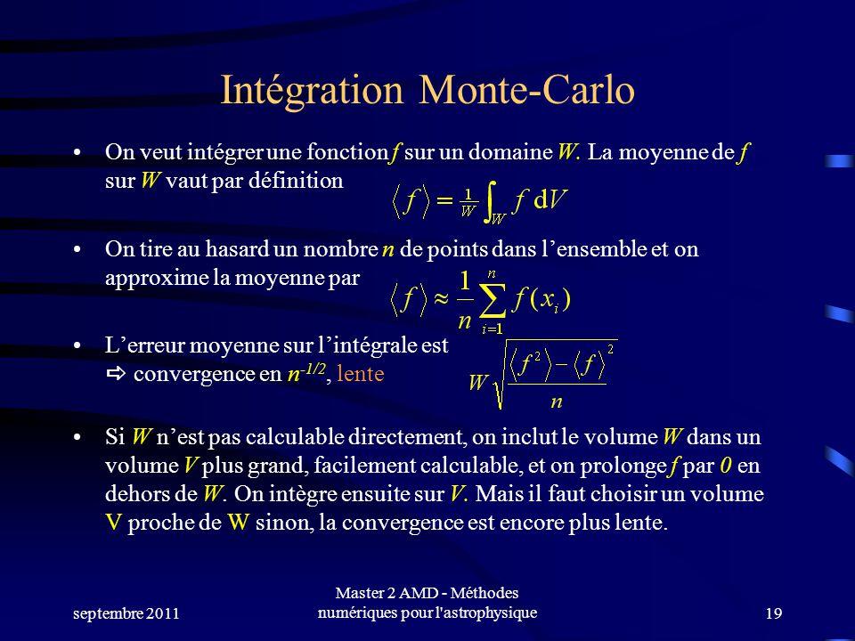 septembre 2011 Master 2 AMD - Méthodes numériques pour l'astrophysique19 Intégration Monte-Carlo On veut intégrer une fonction f sur un domaine W. La