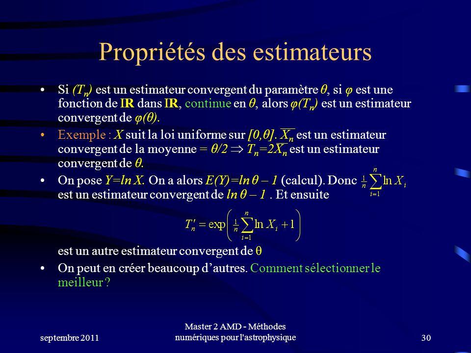 septembre 2011 Master 2 AMD - Méthodes numériques pour l astrophysique30 Propriétés des estimateurs RRSi (T n ) est un estimateur convergent du paramètre θ, si φ est une fonction de IR dans IR, continue en θ, alors φ(T n ) est un estimateur convergent de φ(θ).
