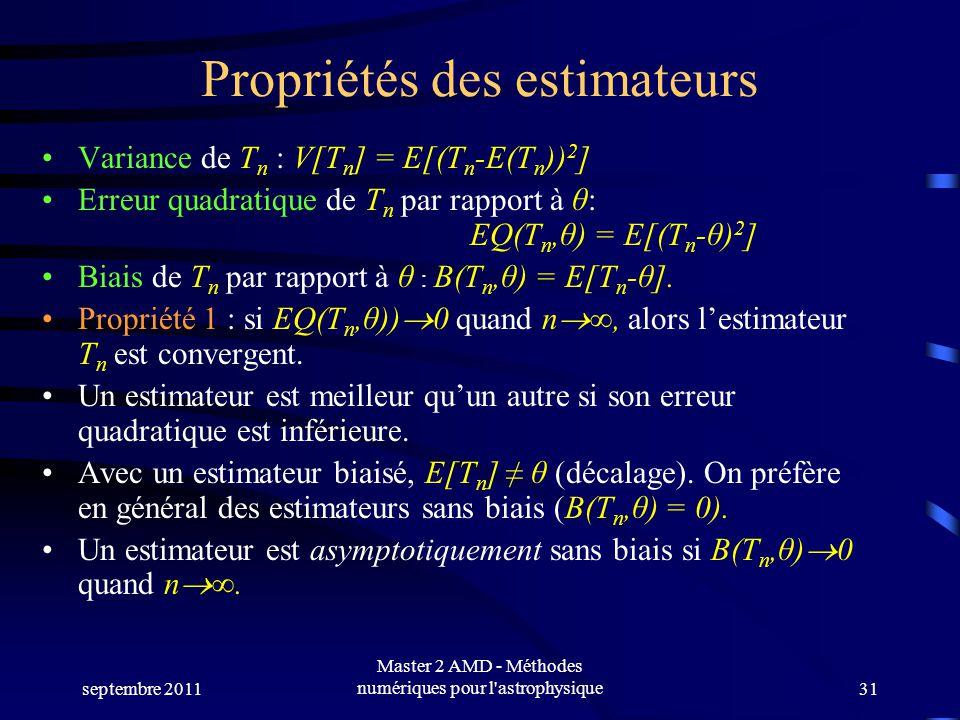 septembre 2011 Master 2 AMD - Méthodes numériques pour l astrophysique31 Propriétés des estimateurs Variance de T n : V[T n ] = E[(T n -E(T n )) 2 ] Erreur quadratique de T n par rapport à θ: EQ(T n,θ) = E[(T n -θ) 2 ] Biais de T n par rapport à θ : B(T n,θ) = E[T n -θ].