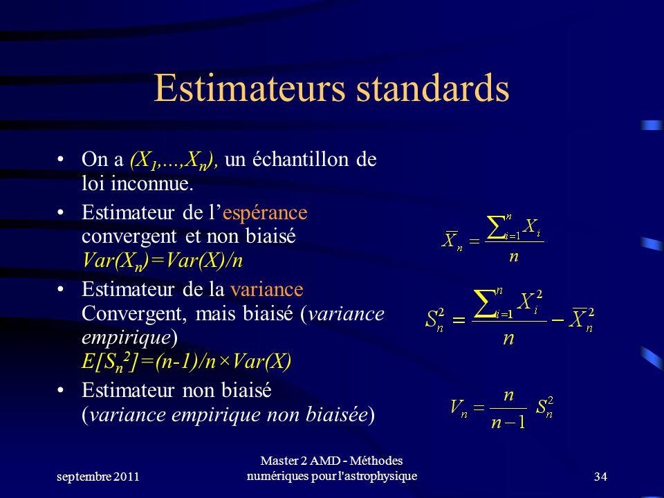 septembre 2011 Master 2 AMD - Méthodes numériques pour l astrophysique34 Estimateurs standards On a (X 1,...,X n ), un échantillon de loi inconnue.