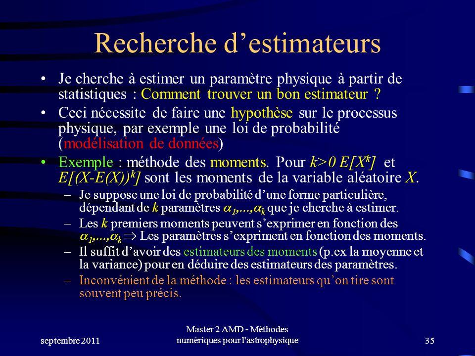 septembre 2011 Master 2 AMD - Méthodes numériques pour l astrophysique35 Recherche destimateurs Je cherche à estimer un paramètre physique à partir de statistiques : Comment trouver un bon estimateur .