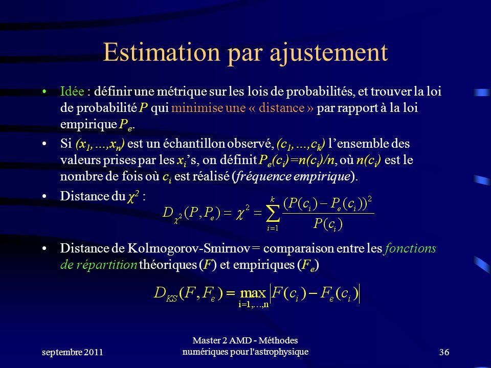 septembre 2011 Master 2 AMD - Méthodes numériques pour l astrophysique36 Estimation par ajustement Idée : définir une métrique sur les lois de probabilités, et trouver la loi de probabilité P qui minimise une « distance » par rapport à la loi empirique P e.