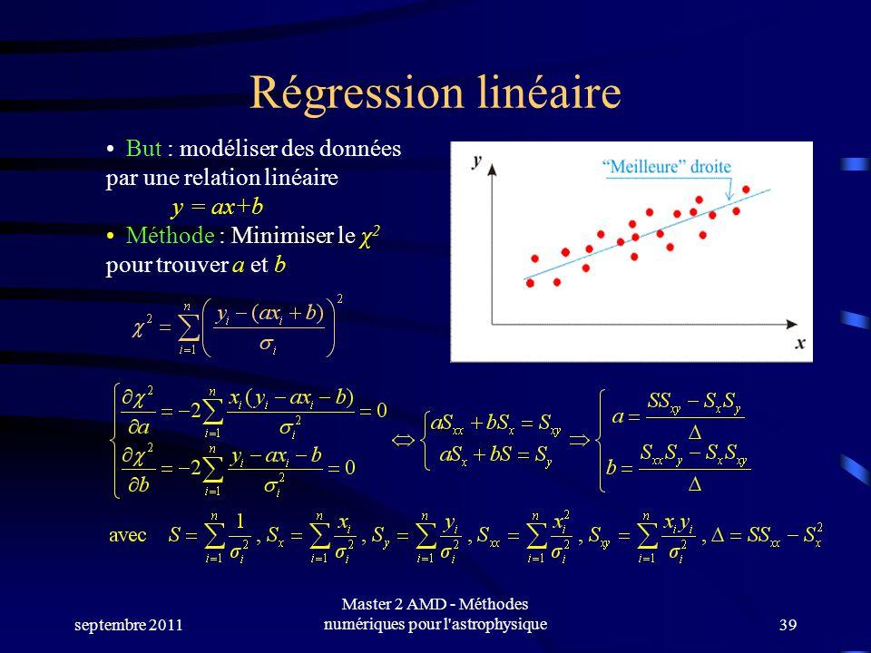 septembre 2011 Master 2 AMD - Méthodes numériques pour l astrophysique39 Régression linéaire But : modéliser des données par une relation linéaire y = ax+b Méthode : Minimiser le χ 2 pour trouver a et b