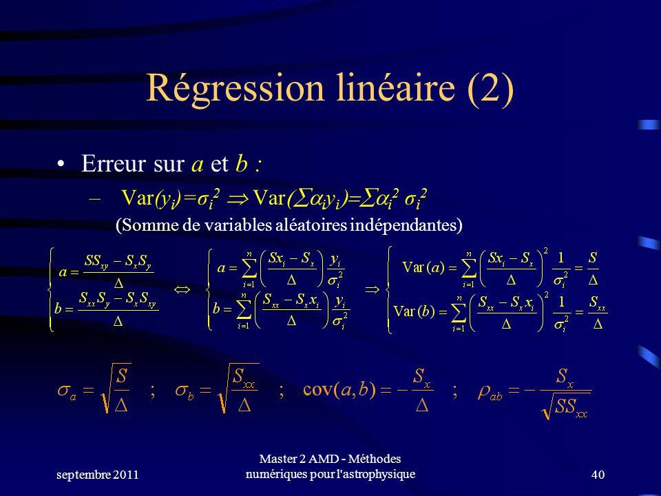 septembre 2011 Master 2 AMD - Méthodes numériques pour l astrophysique40 Régression linéaire (2) Erreur sur a et b : – Var(y i )=σ i 2 Var i y i i 2 σ i 2 (Somme de variables aléatoires indépendantes)