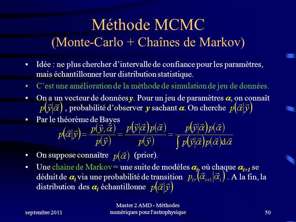 Méthode MCMC (Monte-Carlo + Chaînes de Markov) Idée : ne plus chercher dintervalle de confiance pour les paramètres, mais échantillonner leur distribu