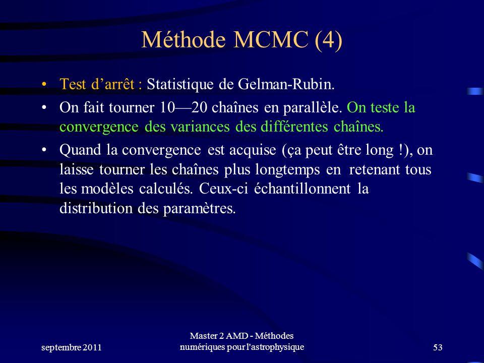 Méthode MCMC (4) Test darrêt : Statistique de Gelman-Rubin. On fait tourner 1020 chaînes en parallèle. On teste la convergence des variances des diffé