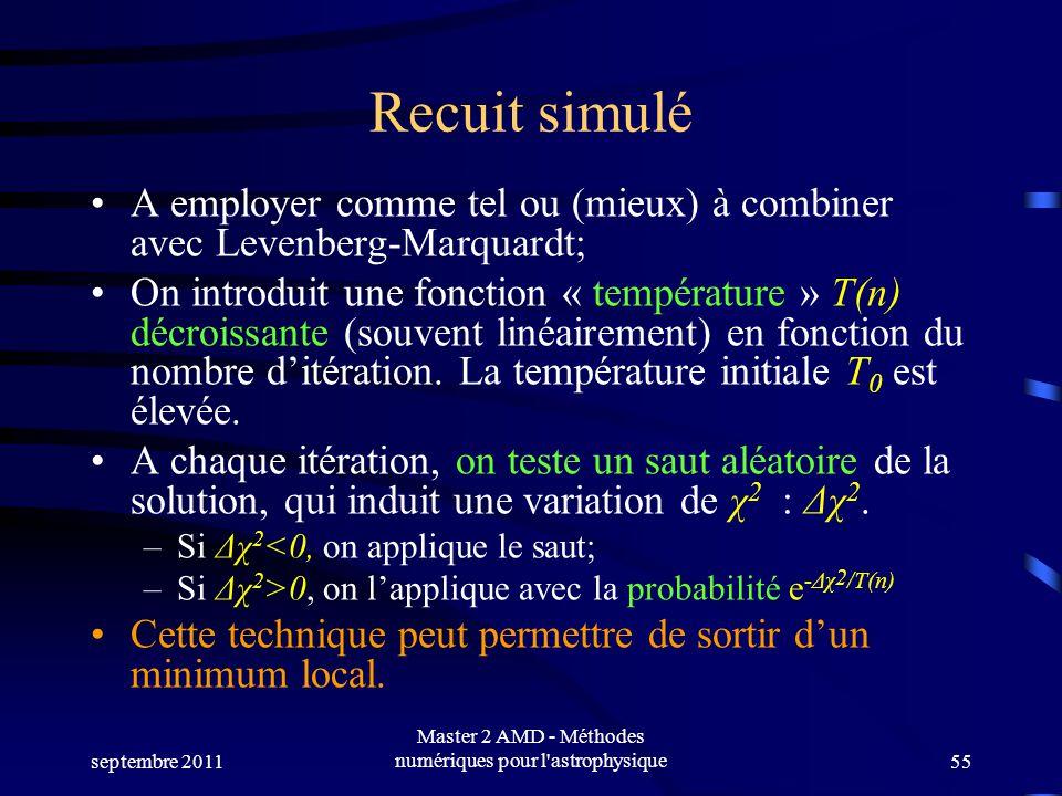 septembre 2011 Master 2 AMD - Méthodes numériques pour l astrophysique55 Recuit simulé A employer comme tel ou (mieux) à combiner avec Levenberg-Marquardt; On introduit une fonction « température » T(n) décroissante (souvent linéairement) en fonction du nombre ditération.