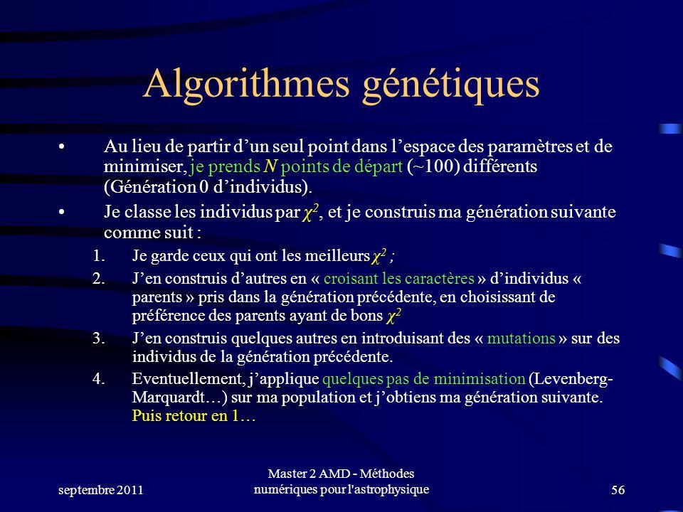 septembre 2011 Master 2 AMD - Méthodes numériques pour l astrophysique56 Algorithmes génétiques Au lieu de partir dun seul point dans lespace des paramètres et de minimiser, je prends N points de départ (~100) différents (Génération 0 dindividus).