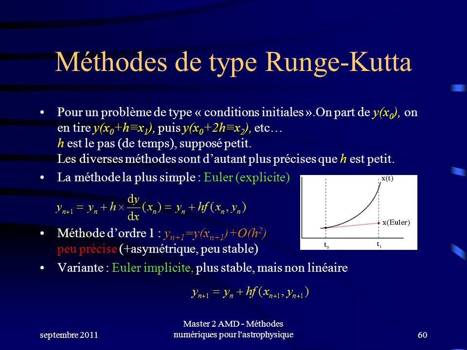septembre 2011 Master 2 AMD - Méthodes numériques pour l astrophysique60 Méthodes de type Runge-Kutta Pour un problème de type « conditions initiales ».On part de y(x 0 ), on en tire y(x 0 +hx 1 ), puis y(x 0 +2hx 2 ), etc… h est le pas (de temps), supposé petit.