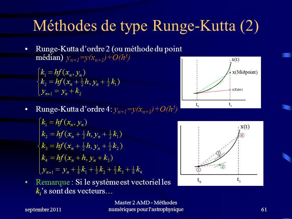 septembre 2011 Master 2 AMD - Méthodes numériques pour l astrophysique61 Méthodes de type Runge-Kutta (2) Runge-Kutta dordre 2 (ou méthode du point médian) y n+1 =y(x n+1 )+O(h 3 ) Runge-Kutta dordre 4: y n+1 =y(x n+1 )+O(h 5 ) Remarque : Si le système est vectoriel les k i s sont des vecteurs…