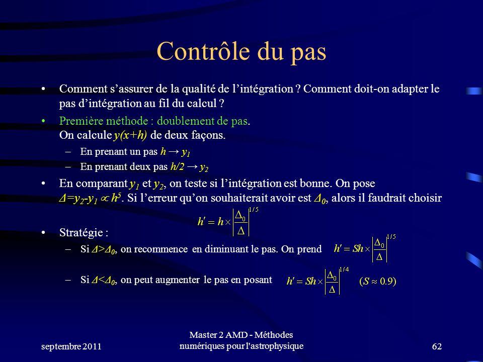 septembre 2011 Master 2 AMD - Méthodes numériques pour l'astrophysique62 Contrôle du pas Comment sassurer de la qualité de lintégration ? Comment doit