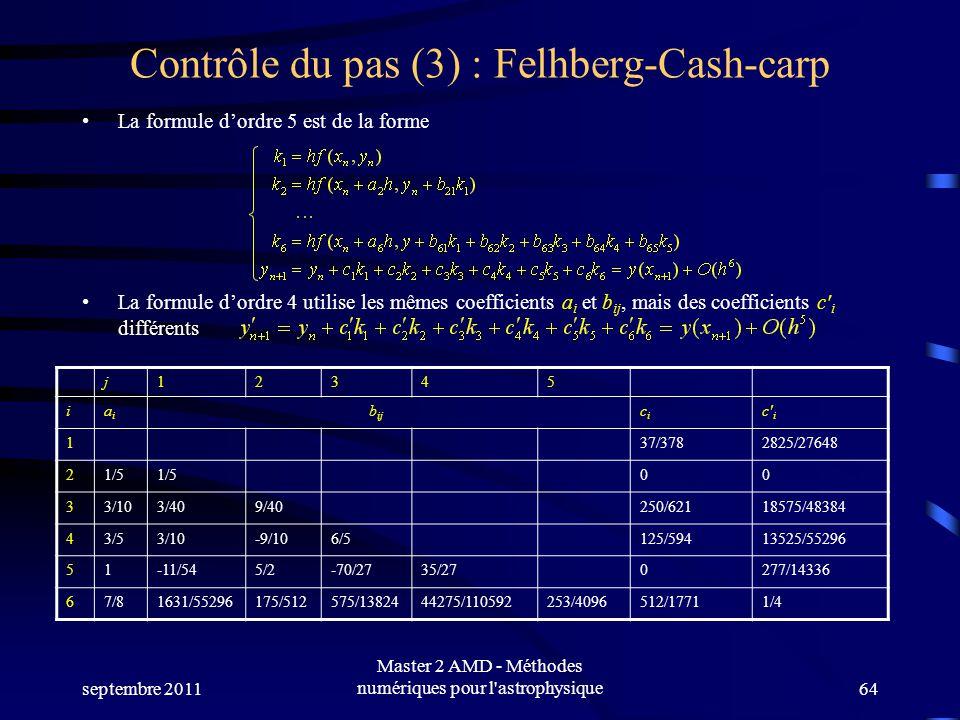 septembre 2011 Master 2 AMD - Méthodes numériques pour l astrophysique64 Contrôle du pas (3) : Felhberg-Cash-carp La formule dordre 5 est de la forme La formule dordre 4 utilise les mêmes coefficients a i et b ij, mais des coefficients c i différents j12345 iaiai b ij cici c i 137/3782825/27648 21/5 00 33/103/409/40250/62118575/48384 43/53/10-9/106/5125/59413525/55296 51-11/545/2-70/2735/270277/14336 67/81631/55296175/512575/1382444275/110592253/4096512/17711/4