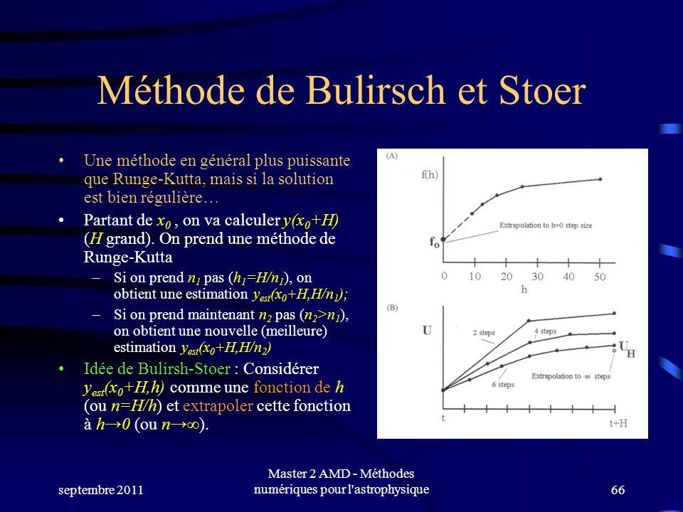 septembre 2011 Master 2 AMD - Méthodes numériques pour l astrophysique66 Méthode de Bulirsch et Stoer Une méthode en général plus puissante que Runge-Kutta, mais si la solution est bien régulière… Partant de x 0, on va calculer y(x 0 +H) (H grand).