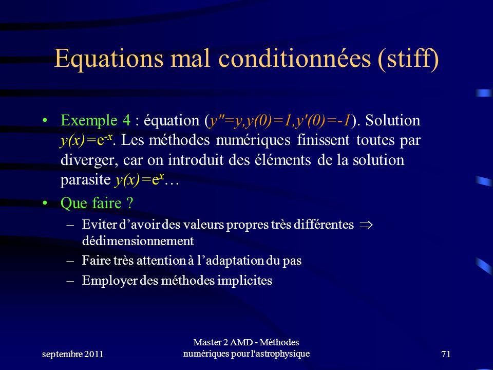 septembre 2011 Master 2 AMD - Méthodes numériques pour l astrophysique71 Equations mal conditionnées (stiff) Exemple 4 : équation (y=y,y(0)=1,y(0)=-1).