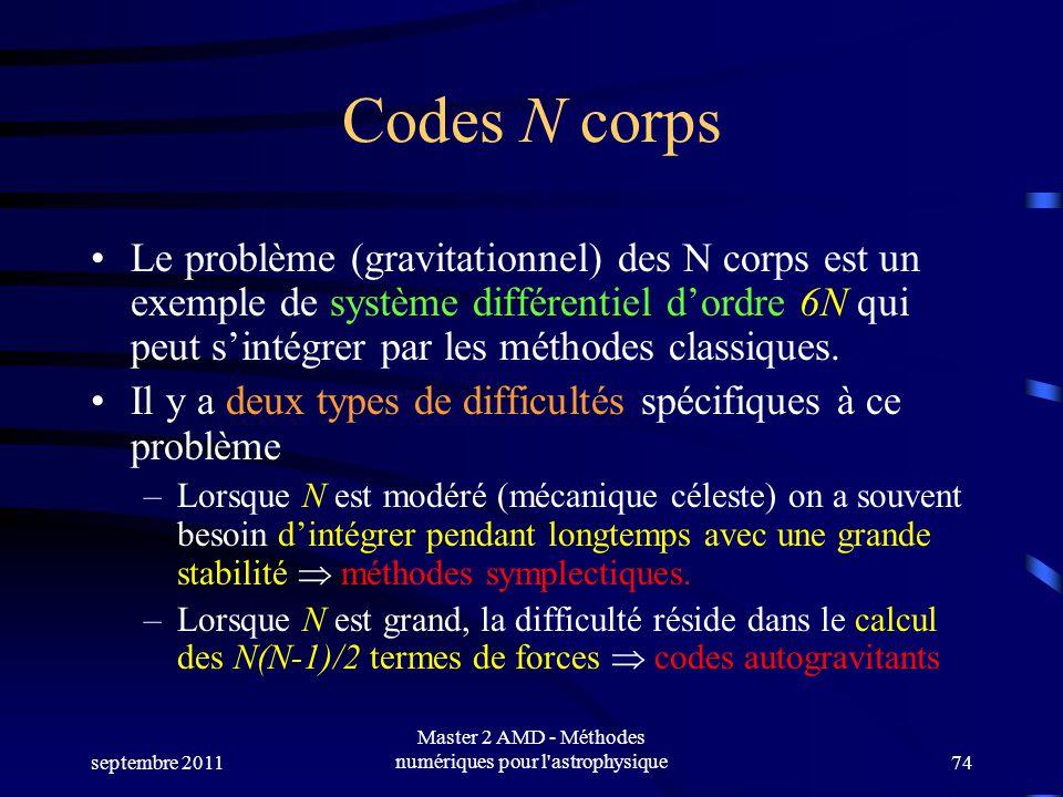 septembre 2011 Master 2 AMD - Méthodes numériques pour l'astrophysique74 Codes N corps Le problème (gravitationnel) des N corps est un exemple de syst