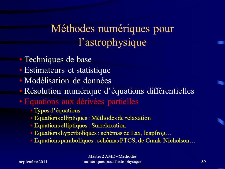 septembre 2011 Master 2 AMD - Méthodes numériques pour l astrophysique89 Méthodes numériques pour lastrophysique Techniques de base Estimateurs et statistique Modélisation de données Résolution numérique déquations différentielles Equations aux dérivées partielles Types déquations Equations elliptiques : Méthodes de relaxation Equations elliptiques : Surrelaxation Equations hyperboliques : schémas de Lax, leapfrog… Equations paraboliques : schémas FTCS, de Crank-Nicholson…