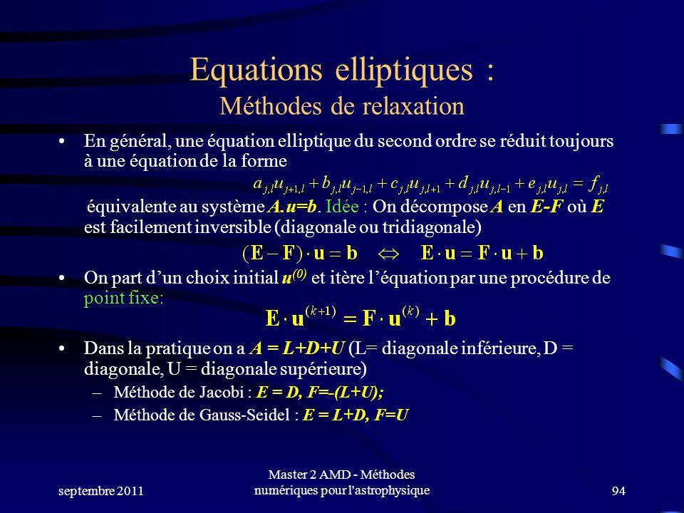 septembre 2011 Master 2 AMD - Méthodes numériques pour l astrophysique94 Equations elliptiques : Méthodes de relaxation En général, une équation elliptique du second ordre se réduit toujours à une équation de la forme équivalente au système A.u=b.